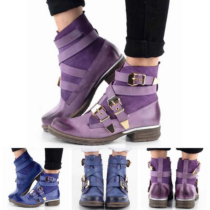 Vogue ฤดูหนาวข้อเท้ารองเท้าผู้หญิงแฟชั่นผู้หญิงสีม่วงสั้นข้อเท้ารองเท้าหนังแท้สีฟ้าฤดูหนาว Strapped Boot รองเท้า