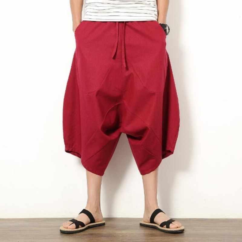 Verão dos homens japonês samurai boho verão harem shorts hakama linho algodão calças 5 cores solto ajuste calças curtas tamanho grande