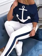 цена на Women Fashion 2020 New Skew Neck Half Sleeve Anchor Print Top & Colorblock Drawstring Pant Sets