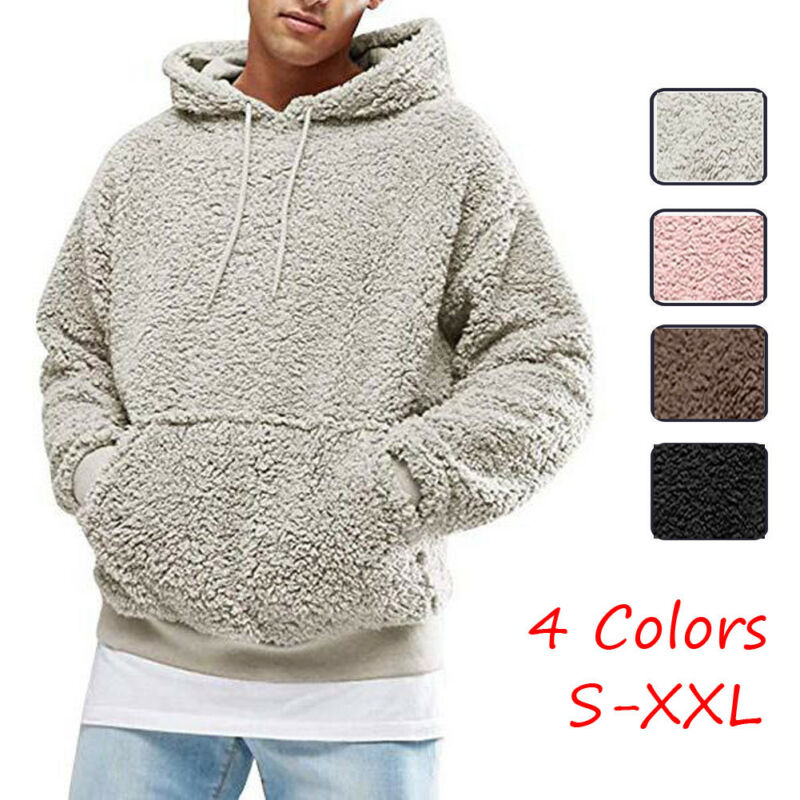 Winter Men Warm Faux Fur Teddy Bear Hoodie Hooded Sweatshirt Casual Solid Fleece Plush Autumn Pullover Tops