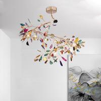 Large LED chandelier lighting gold tree branch agate chandelier for stair/bedroom/dining room/kitchen/living room/girls room