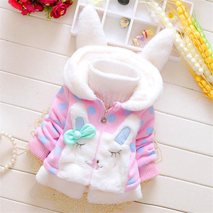 Image 1 - 2020 New Winter Baby Girls Clothes Fleece Coat Pageant Warm Jacket Xmas Clothing 3 6Y Baby Rabbit Ear Hooded Jacket Outerwear