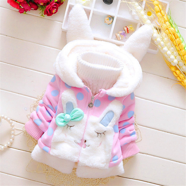 2020 New Winter Baby Girls Clothes Fleece Coat Pageant Warm Jacket Xmas Clothing 3 6Y Baby Rabbit Ear Hooded Jacket Outerwear