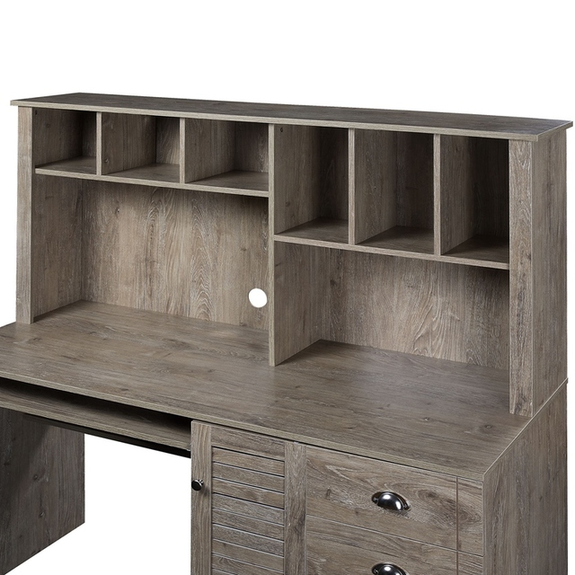 Home Office Computer Desk with Hutch and Drawers 6