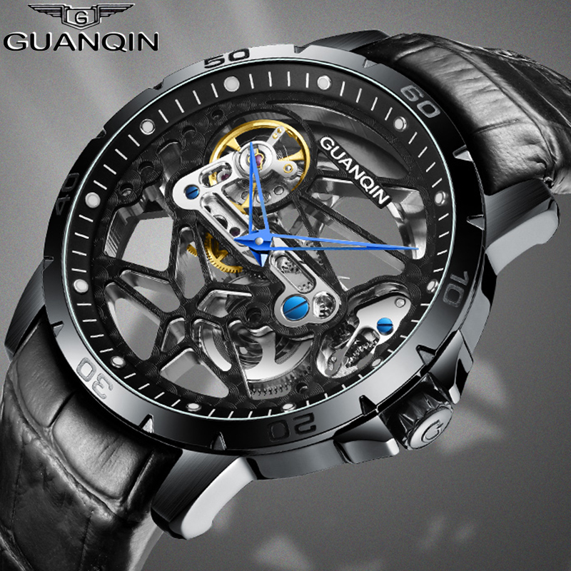 Guanqin Automatic Skeleton Watch Mechanical Mens Watch Top Brand Luxury Men's Business Watch Tourbillon Clock Men Reloj Hombre