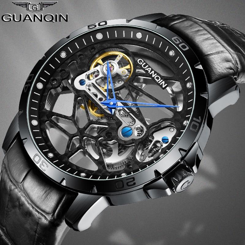 Guanqin Automatic Skeleton Watch Mechanical Mens Watch Top Brand Luxury Men's Business Watch Tourbillon Clock Men Reloj Hombre