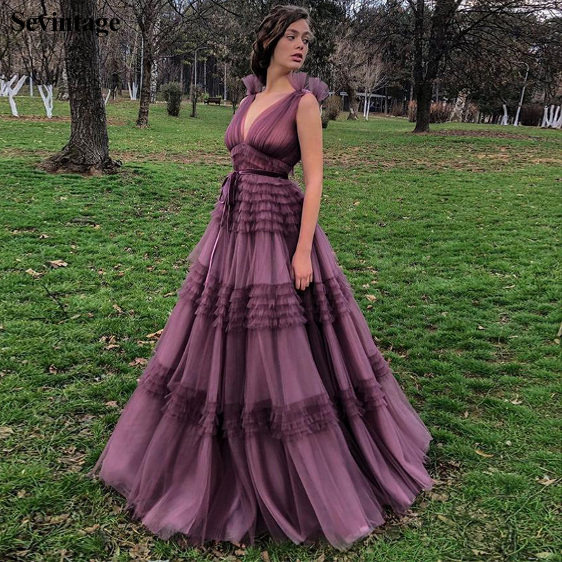 Sevintage A Line Empire Waist Tulle Evening Dresses Deep V Neck Sleeveless Pleated Prom Gowns Plus Size Purple Abendkleider 2020