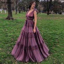 цена на Sevintage A Line Empire Waist Tulle Evening Dresses Deep V Neck Sleeveless Pleated Prom Gowns Plus Size Purple Abendkleider 2020