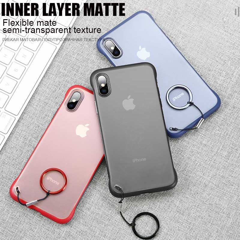Luxury Ultra Thin With Ring Shockproof Case For iPhone 5G X XR XS MAX TPU Soft Cover For IPhone 8 7 6 6s Plus Matte Phone Cases 1