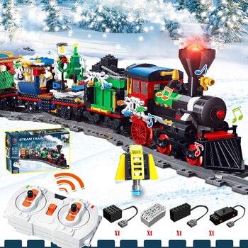 Neue Zug spielzeug Dorf Stadt Zug Baum Lichter Bausteine Ziegel Sets legoINGlys Dekoration Weihnachten Spielzeug Für Jungen