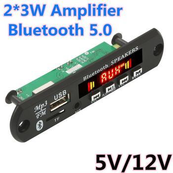 2*3W Amplifier Bluetooth 5.0 MP3 Player Decoder Board  Car FM Radio Module Support FM TF USB AUX Handsfree Call Record bluetooth 5 0 mp3 decoder decoding board module 5 v 12v car usb mp3 player wma wav tf card slot usb fm remote board module