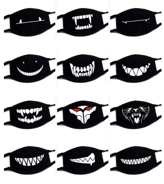 1PC Reusable Washable Black Anti-Dust Cotton Cute Bear Anime Cartoon Mouth Mask Kpop teeth mouth Muffle Face Mouth Masks 2