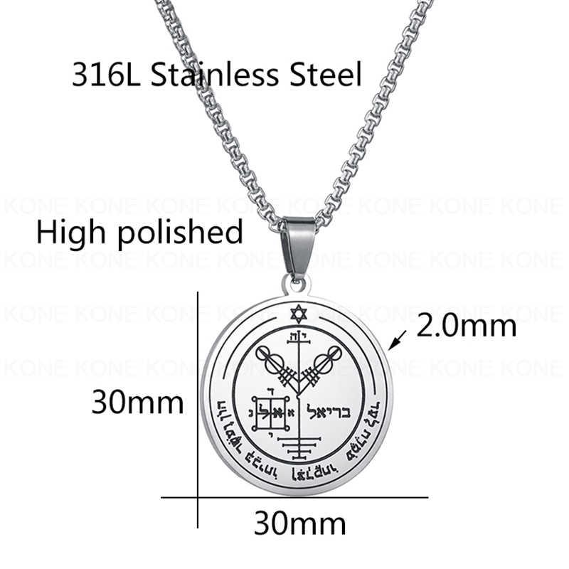 UZone starożytny stal nierdzewna stalowy klucz salomona naszyjnik czwarty pentagram jowisza Amulet naszyjniki biżuteria religijna prezent