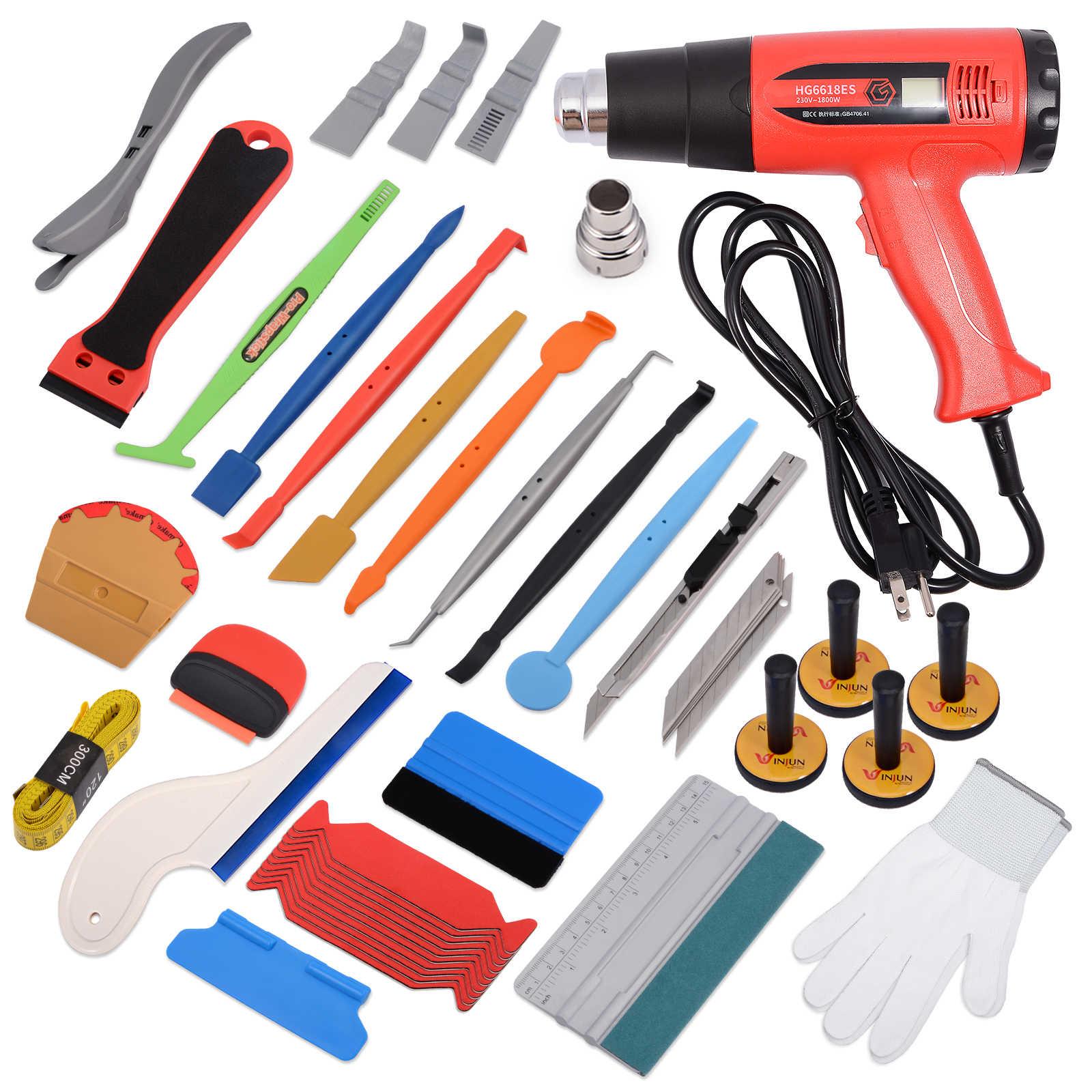 Kit de herramientas de envoltura de vinilo para coche FOSHIO, tinte de Ventanilla, enchufe de UE/EE. UU., pistola de aire caliente, rascador de escurridor para auto, Soportes magnéticos de fibra de carbono