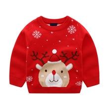 Children's Autumn/Winter Christmas Deer Sweater Boy's Girl's Thin Cotton Thread Double Layer Jacquard Pullover 100-140cm HOTSALE