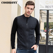COODRONY Brand Cardigan Men Merino Wool Sweater Men Sleeveless Vest Coat Autumn Winter Thick Warm Fashion Zipper Cardigans C3004