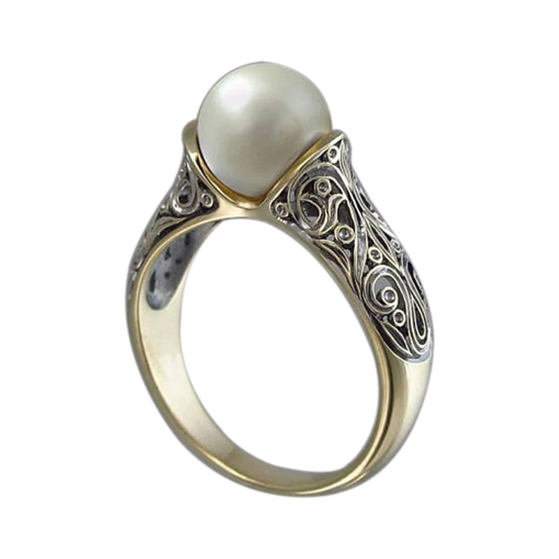 Fashion Women Ring Pearl Vintage Ring Wedding Engagement Bands Classic Jewelry Knuckle Ring For Women Birthday Gift
