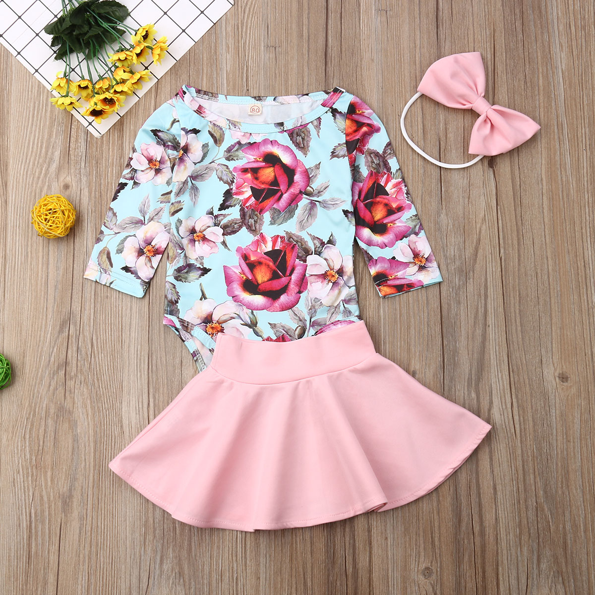 Pudcoco Newborn Baby Girl Clothes Flower Print Long Sleeve Romper Tops Mini Skirt Headband 3Pcs Outfits Cotton Clothes