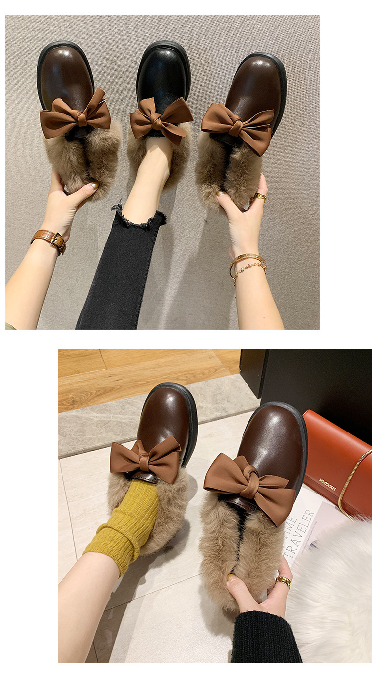 2019 winter long plush warm fur shoes bow tied decorate slip-on leather bullock shoes woman anti-skid chunky leisure espadrilles 51
