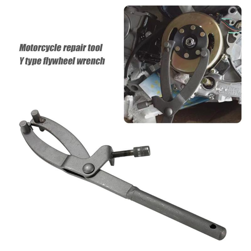 Wrench Flywheel Clutch Holder Remover Puller Adjustable Motorcycle ATV Scooter Spanner Durable Y-type Repairing Tool