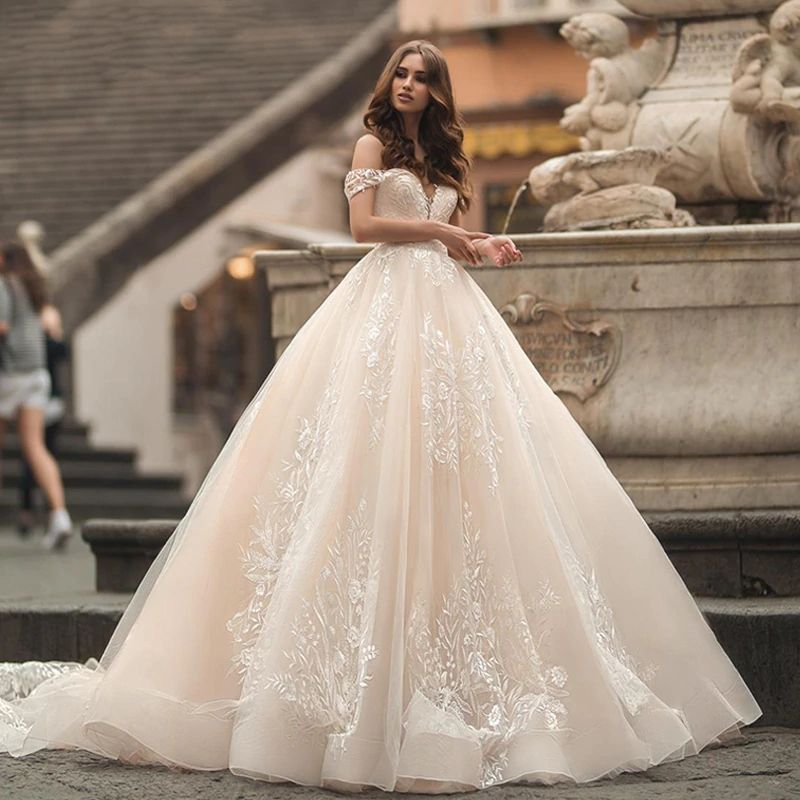 2020 Vintage Long Wedding Dresses Sweetheart Off Shoulder Princess Wedding Gown Customized Bride Dresses Robe De Mariee