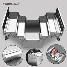 Stainless Steel Toolbox Set Three-layer Folding Household storage Box Portable Iron Storage Box Car Industrial Grade