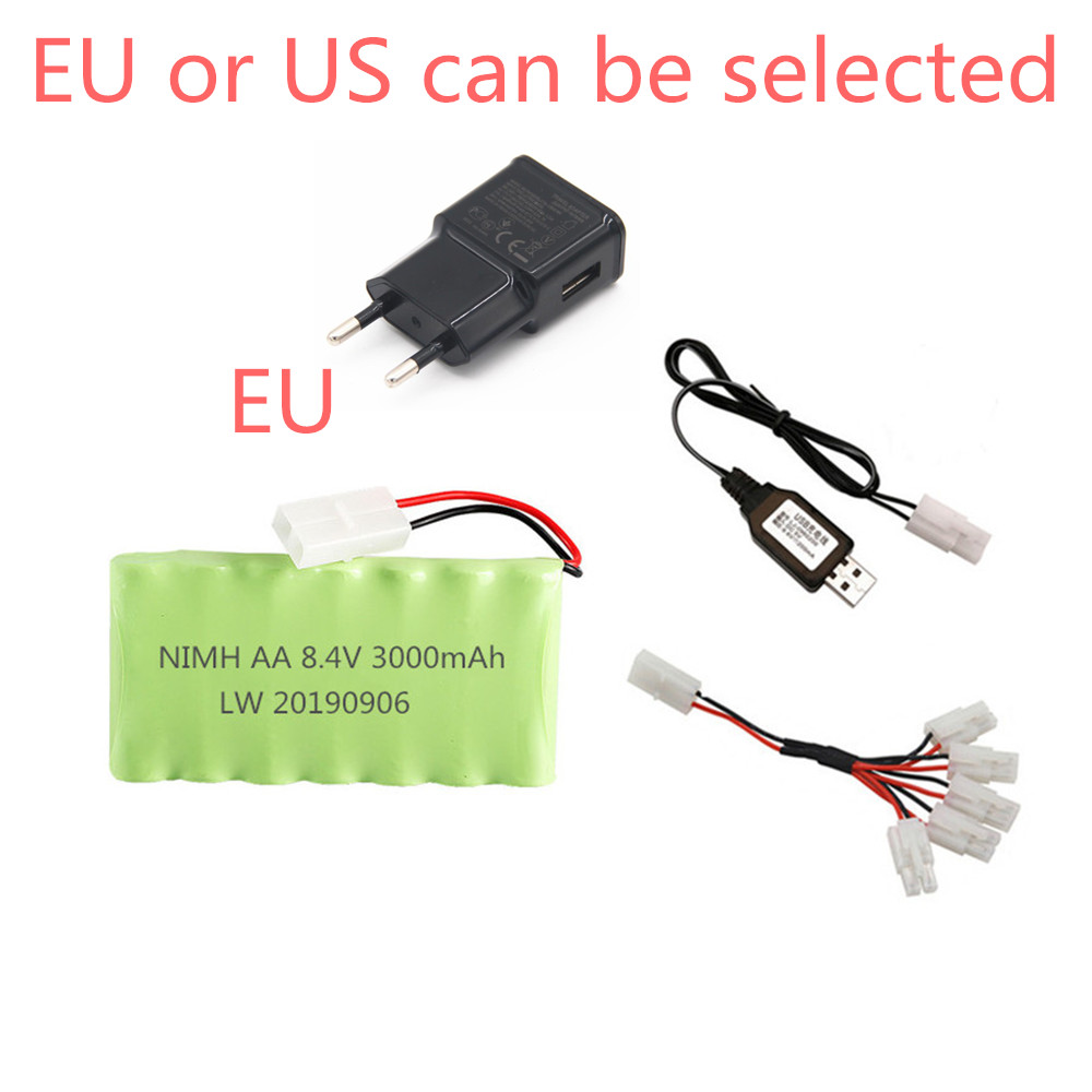 High capacity 8.4v 3000mAh Rechargeable Battery with charger For Rc toys Cars Gun Train parts AA NiMH Battery Pack For Rc Boat image