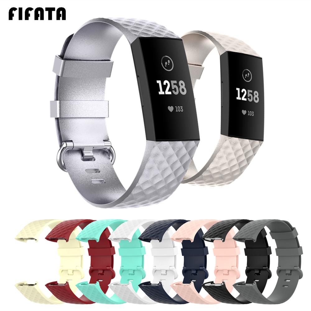FIFATA Silicone Band For Fitbit Charge 4 Charge 3 Charge 3 SE Strap Replacement Watchband Smart Bracelet Wrist Strap Accessories