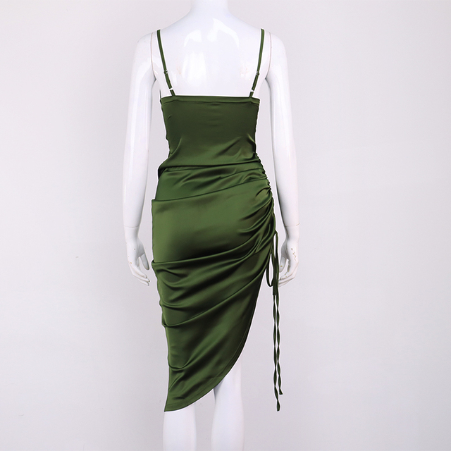 NewAsia Ruched Satin Summer Dress Drawstring Spaghetti Straps Cowl Neck Backless Long Dresses for Women Party Sexy Vestidos 2020 5