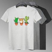 Забавные кактус собака графическая печать забавная женская рубашка
