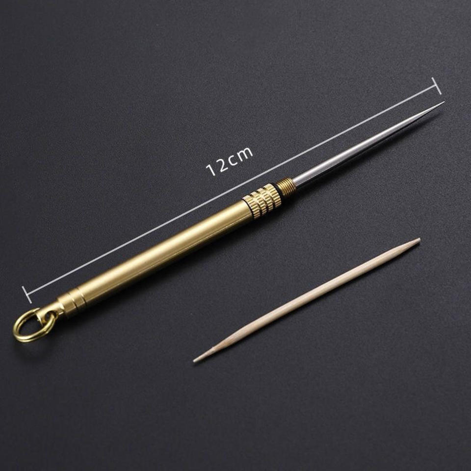 1X Pure Titanium Alloy Outdoor Portable Toothpick Bottle Fruit Fork Camping Tool