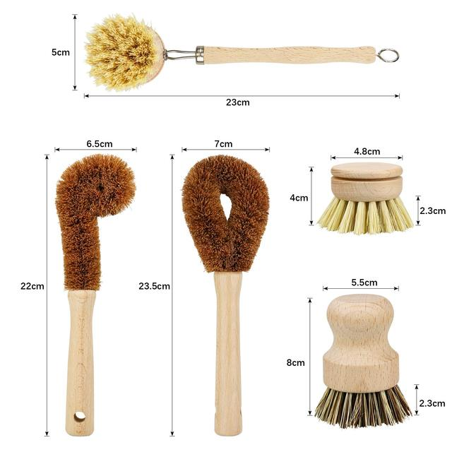 Kitchen Brush Heads 5 Pcs Scrub Brush Plant Based Cleaning Brush Set Dish Vegetable Cleaning Bathroom Kitchen Cleaning Tools Set 6