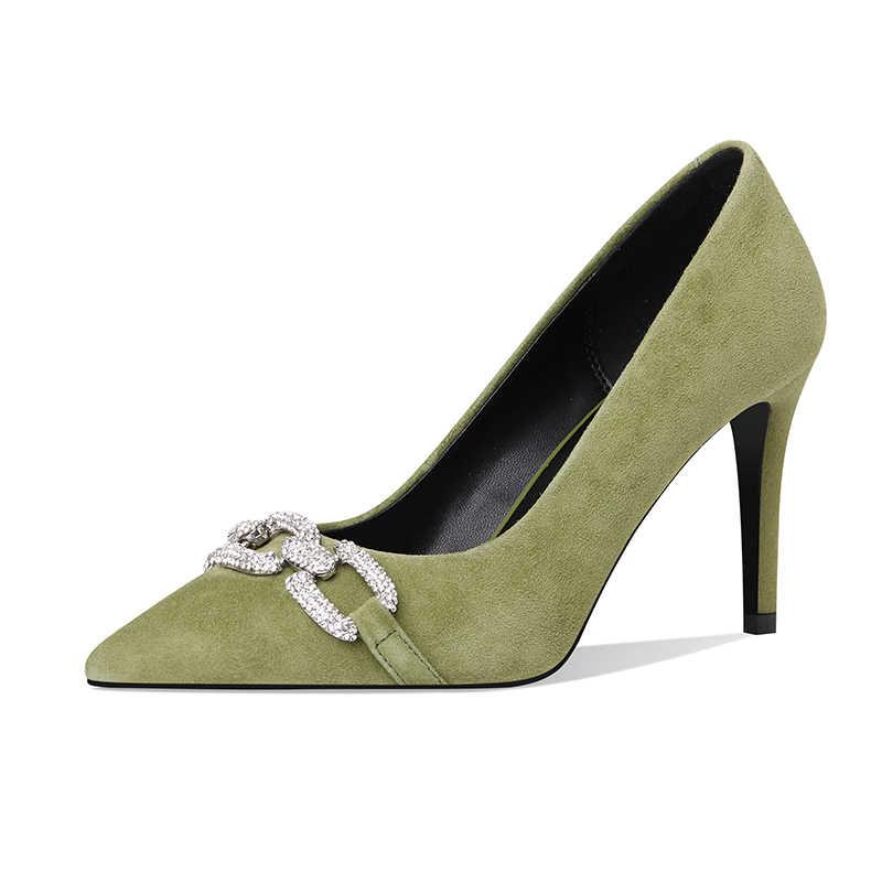 2020 Baru Anak Perempuan Suede Sepatu Hak Tinggi Tipis Tumit Diamond Pesta Sepatu Gesper Berlian Imitasi Pompa Sepatu Kristal Pernikahan sepatu