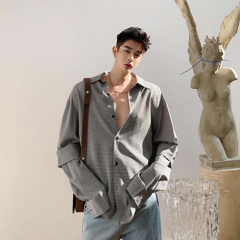 Men Splice Long Sleeve Casual Plaid Shirt Male Korea Style Vintage Streetwear Loose Shirts
