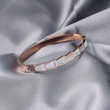 Женский браслет из титановой стали розового золота не выцветает