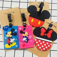 Travel Accessories Cartoon Minnie Mickey Luggage Tag Silica Gel Women Portable Label Suitcase ID Address Holder Baggage Boarding