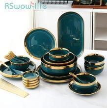 Phnom Penh – service d'assiettes en céramique, ensemble de 25 pièces, de luxe, léger, vert, en porcelaine, pour la cuisine