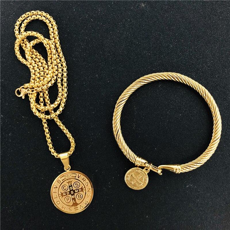1 Set San Benito Medallion Necklaces Catholic St. Benedict Pendant Kolye For Women Trendy Jewelry Gift