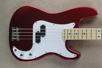 Gitara fabryka najwyższej jakości 4 struny gitara basowa Metal czerwony kolor gitara basowa biały PickGuard darmowa wysyłka tanie i dobre opinie firehawk Z klonu LIPA Nauka w domu Beginner Unisex CN (pochodzenie)