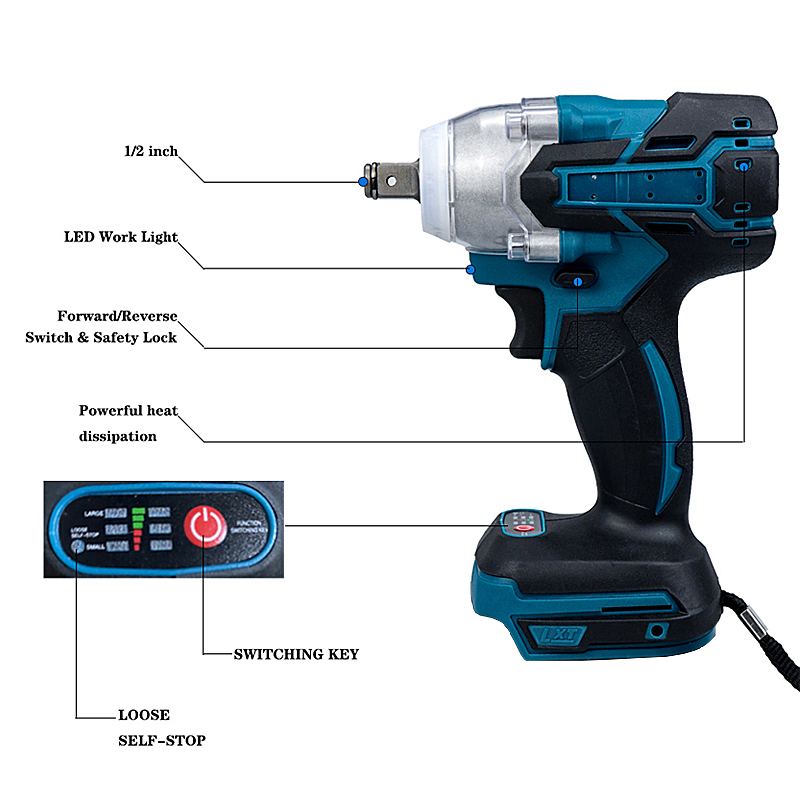 Tools : Function 2 IN 1 Brushless Electric Wrench Impact Wrench Electric Screwdriver Socket Without Battery Accessories Electric Wrench