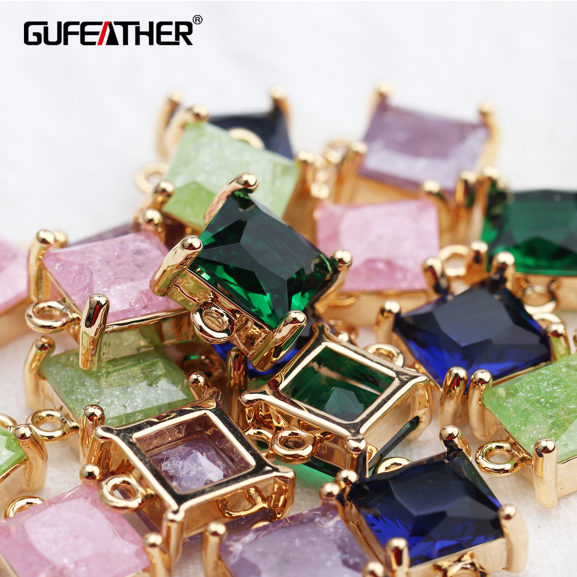 GUFEATHER M611,jewelry Accessories,18k Gold Plated,diy Square Zircon Pendant,jump Ring,jewelry Making,diy Earring,10pcs/lot