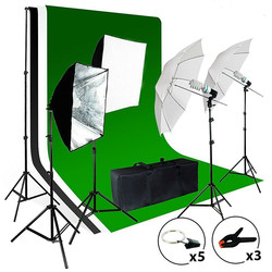 2meter x 3meter Background Support System, 800W 5500K Umbrella Softbox Lighting Kit for Photo Video Shooting Photography Studio