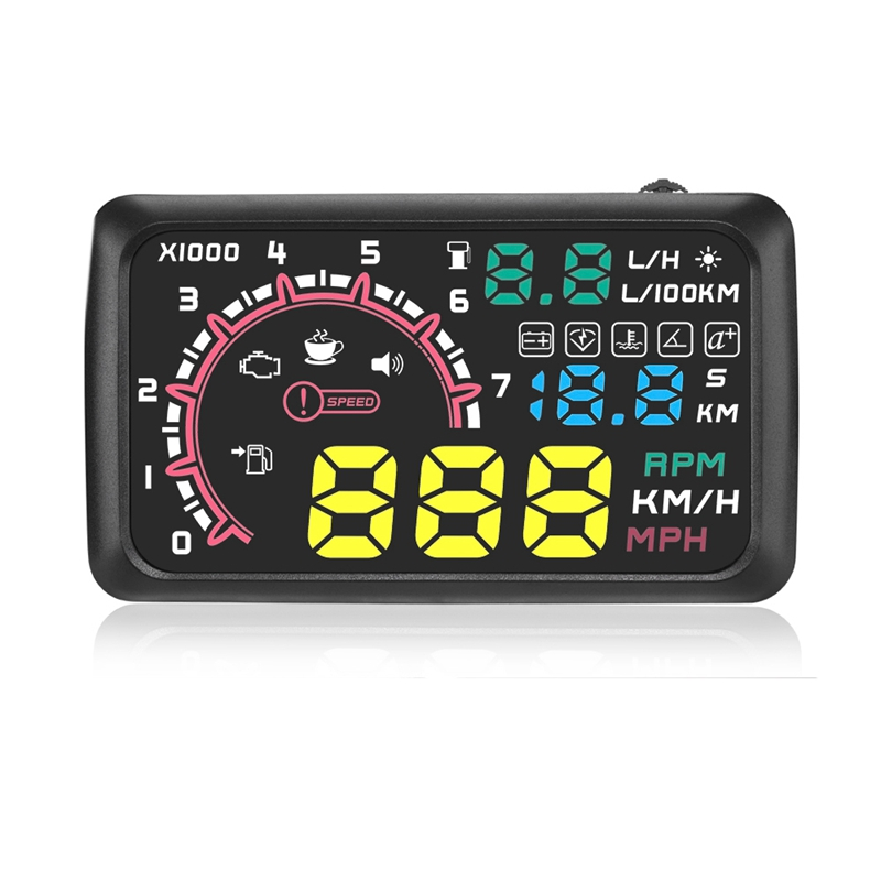 Multi-Function Car 5.5 Inch Hud Head Up Display Speeding Fuel Warning Windshield Projector System With Obd2