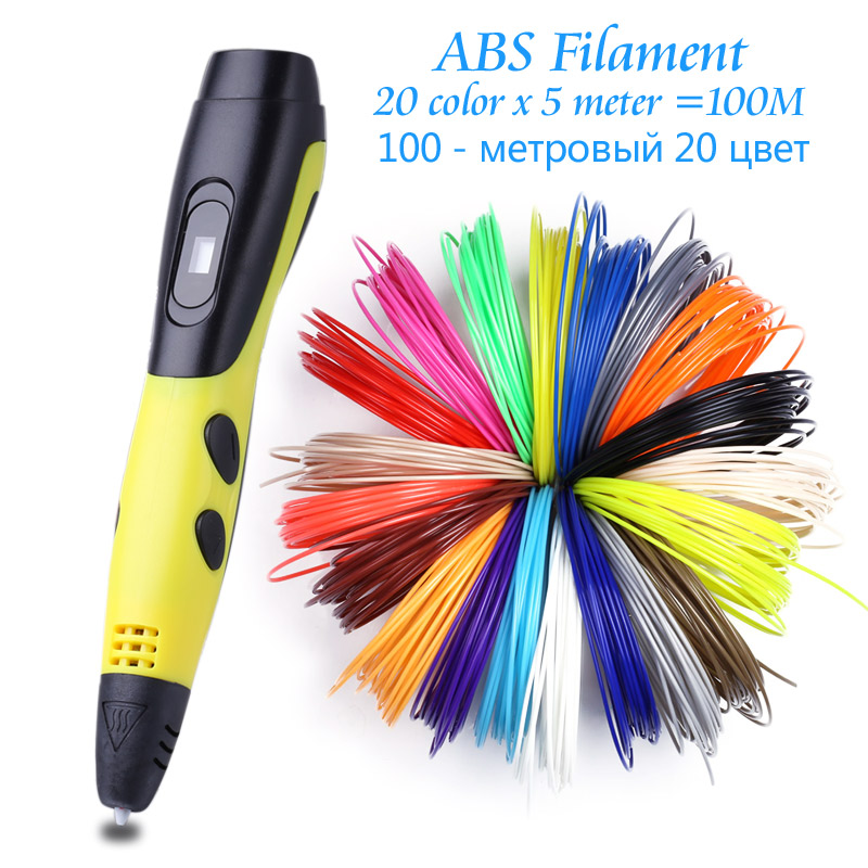 Original 3D Pen With 20 Color Plastic ABS Filament For Kids Birthday Gift