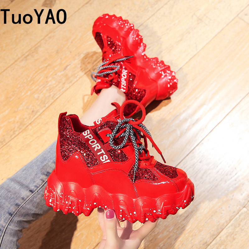 Women's Chunky Sneakers 2020 Fashion Brand Design Women Platform Trainers Casual Woman Bling Dad Shoes Ladies Footwear Red Shoes 1