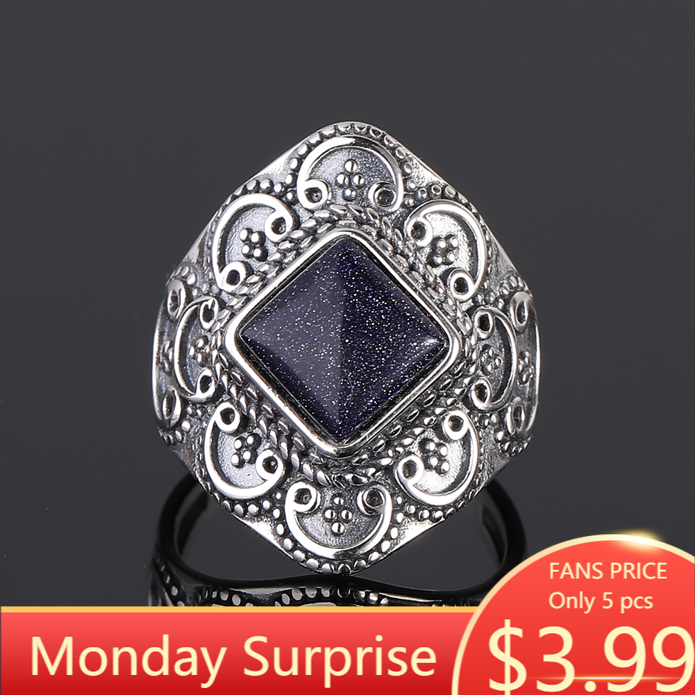 S925 Sterling Silver Rings Blue Sandstone Gemstone Rings For Women Wedding Bands Anniversary Gift Fine Jewelry