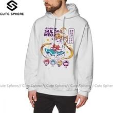 Sailor Moon Hoodie Sailor Meow Hoodies Casual Mens Pullover Hoodie Loose Winter Grey Long XXXL Cotton Hoodies