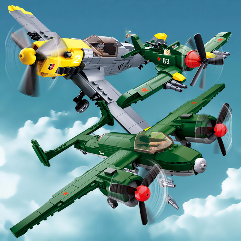 Military WW2 Army Air Forces <font><b>BF</b></font>-109 Fighter Soviet Union TU-2 Bomber Plane Building Blocks Sets Playmobil Bricks Kids Toys image