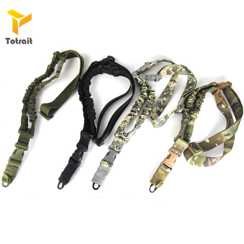 TOtrait 1000D Single Point 1-Point One Point Heavy Duty Mount Bungee Military Rifle Sling Adjustable Tactical Green Black Tan Gu