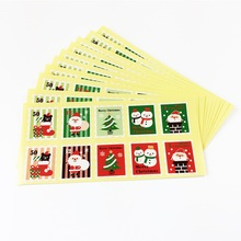 100 Pcs/lot lovely Merry Christmas Stamp Shape Seal Stickers Gift Decoration Packaging Bag Paper Label Sticker